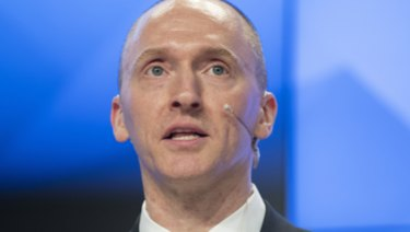 Carter Page, a formerforeign policy adviser of US President-elect Donald Trump, speaks ata news conferenceat RIA Novosti news agency in Moscow in 2016.