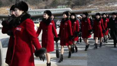 North Korean cheering squads arrived in South Korea ahead of the Pyeongchang Winter Olympics.