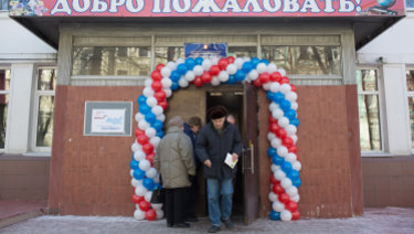 A polling station in Moscow during Sunday's Russian presidential elections.