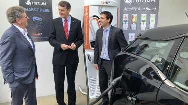 ERM Power founder Trevor St Baker, lord mayor Graham Quirk and Tritium co-founder Paul Sernia at Tritium in Murarrie.