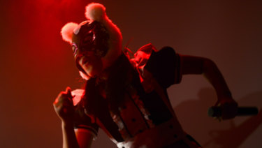 A member of Japanese pop group 'Virtual Currency Girls' performs in Tokyo.