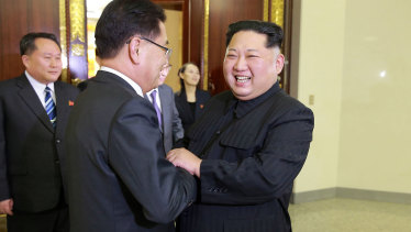North Korean leader Kim Jong-un meets South Korean National Security Director Chung Eui-yong in Pyongyang, North Korea.