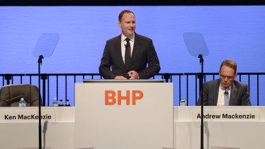 New chairman Ken MacKenzie speaks at BHP's AGM in November.