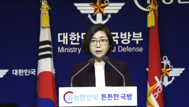 South Korean Defence Ministry's spokeswoman Choi Hyun-soo speaks during a press briefing at the Defence Ministry in Seoul on Tuesday, March 20.