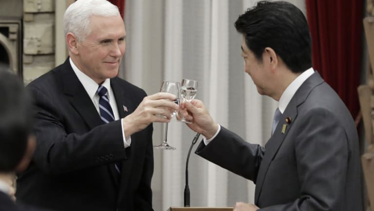 US Vice President Mike Pence, who met with Japan's Prime Minister Shinzo Abe, foreshadowed the toughest sanctions ever on North Korea.