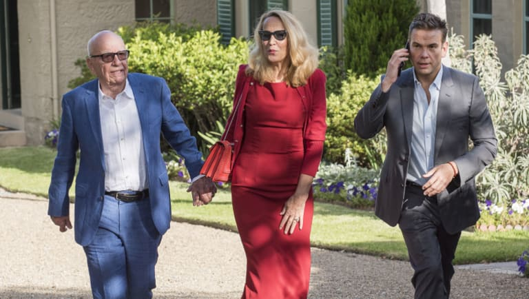 Rupert Murdoch with Jerry Hall and Lachlan Murdoch at  Kirribilli House in December for drinks with the Prime Minister. Murdoch has sold his entertainment assets to Disney.