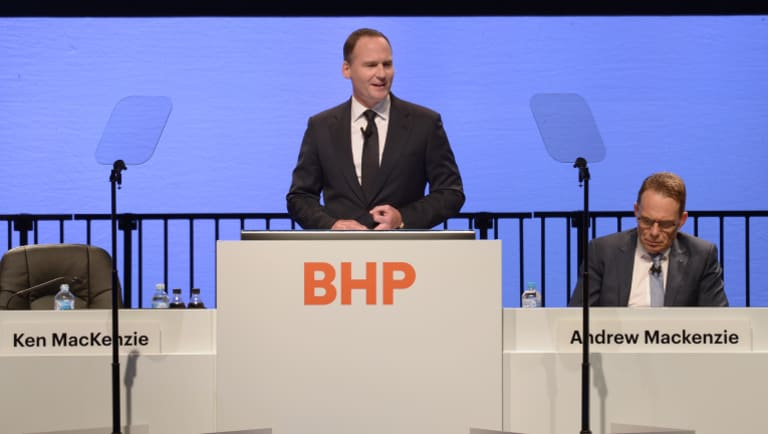 New chairman Ken MacKenzie speaks at BHP's AGM in November.