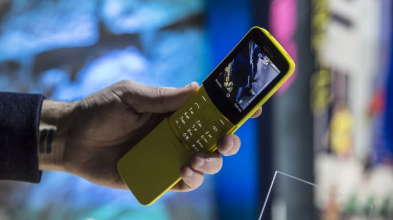 The new Nokia 8110, in yellow, which features 4G connectivity and a simple app store.