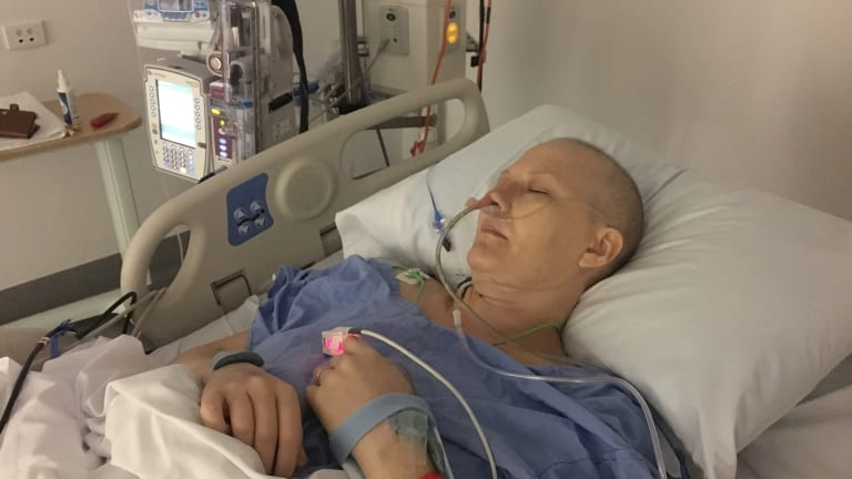 Caitlin Delaney in hospital in mid 2017 to receive treatment for ovarian cancer.