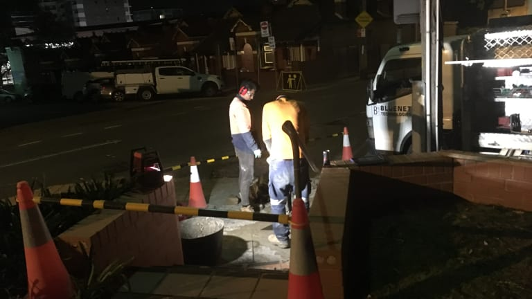 """Residents asked the NBN workers to stop. Mr Luciano said some were getting """"quite heated""""."""