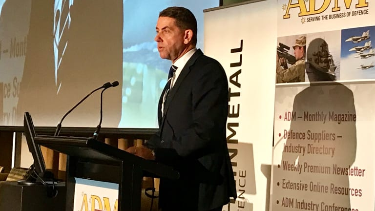 Queensland State Development Minister Cameron Dick addresses the Australian Defence Magazine Congress in Canberra.