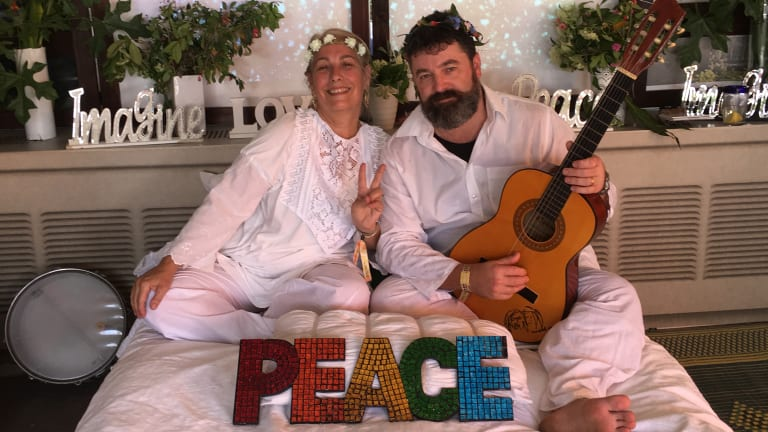 Joanne Brooker and Kris Mitchell at the John and Yoko bed-in installation.