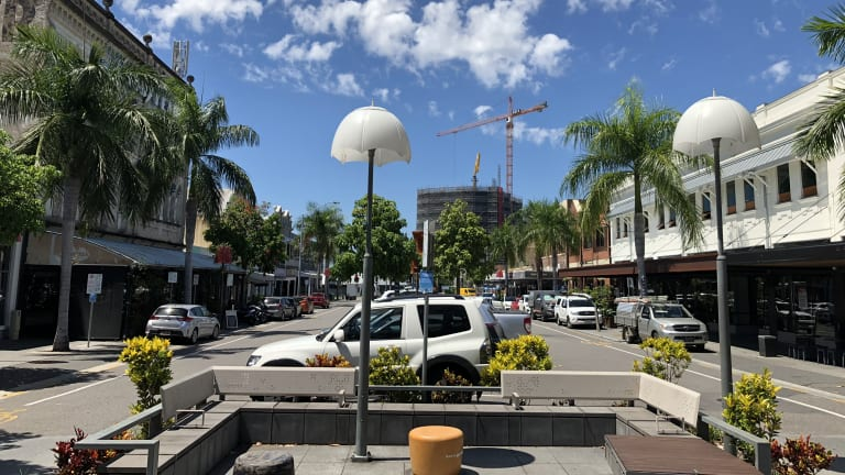 The shopping strip on Logan Road at Woolloongabba.