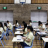 Students sit the first HSC examination in English at St John's Park High in Greenfield Park