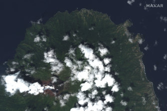 La Soufriere volcano, on the Caribbean island of St Vincent, the day before it erupted.