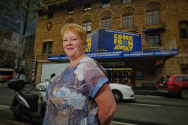 Bonnie Harris outside the Comedy Theatre, where Come From Away opens on Saturday.