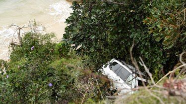 The four-wheel-drive car went over the edge of a cliff on Parriwi Road.