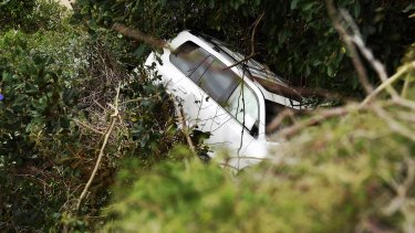 The 64-year-old driver managed to extricate himself and is now in hospital.
