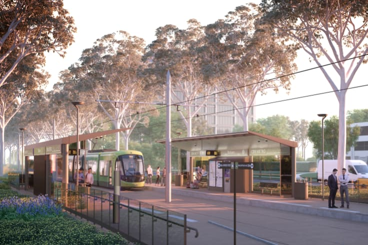 An artist's impression of the Gungahlin tram line from 2016 showing the light rail stations.