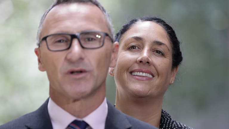 Greens leader Richard Di Natale with the Greens' candidate for Batman, Alex Bhathal.