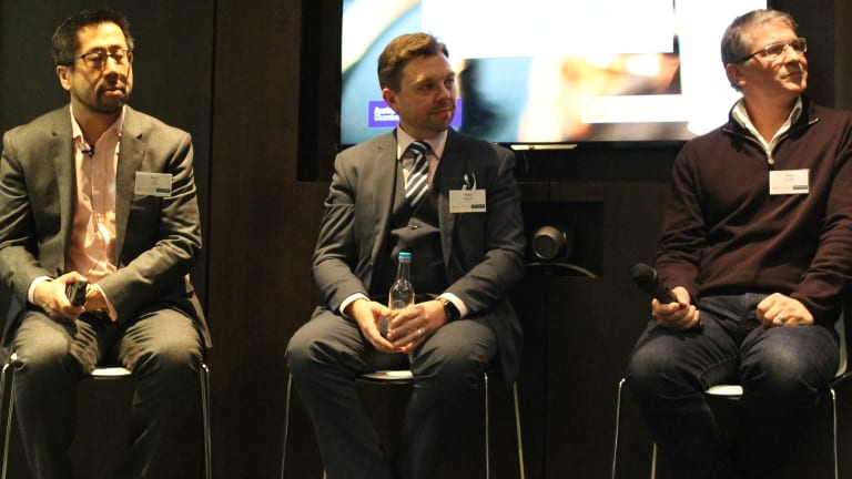Cashless future... (L-R) Paul Lee from Deloitte, Paul Dennis from ITAB and Nick Dryden from Sthaler address the Australia-United Kingdom Chamber of Commerce on the future of biometrics and the cash economy.