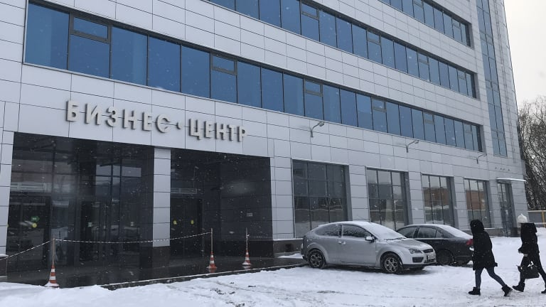 """The view of a business centre believed to be the location of the new """"troll factory"""" in St Petersburg, Russia."""