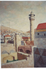 Venn-Brown's painting of Nablus north of Jerusalem from 1989. It was the hometown of her partner Wael Zuaiter, who was assasinated by Mossad in 1972.