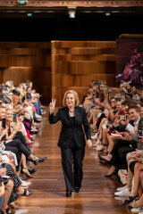Ita Buttrose walking the Priceline runway in Melbourne.