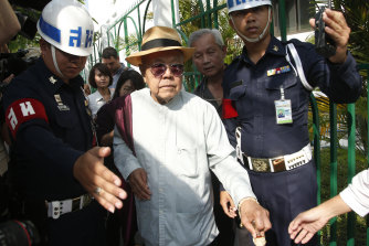 Sulak Sivaraksa on the day the charges were dropped.