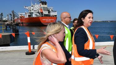 Queensland Premier Annastacia Pazlaszczuk, Treasurer Curtis Pitt and Tourism Minister Kate Jones announce Brisbane's new cruise ship terminal will go ahead.