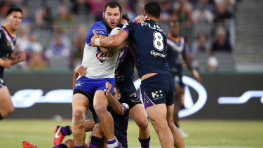 Big bopper: David Klemmer hits it up against the Storm on Saturday.