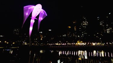 A floating fish above the Yarra at White Night 2018.