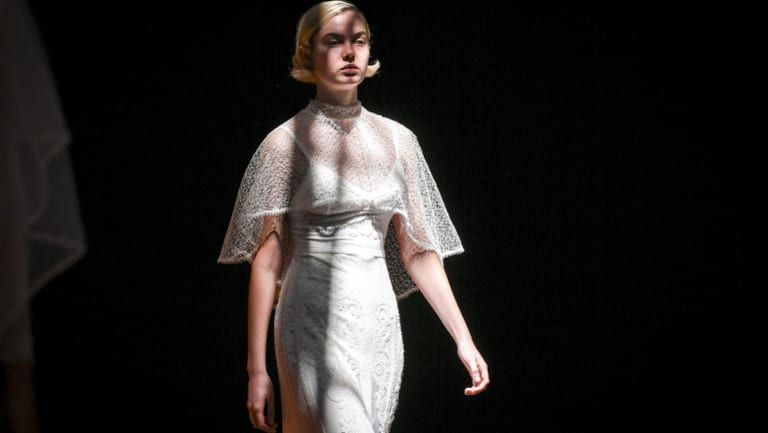 A model at rehearsals for the bridal runway at the Melbourne Fashion Festival on Wednesday.