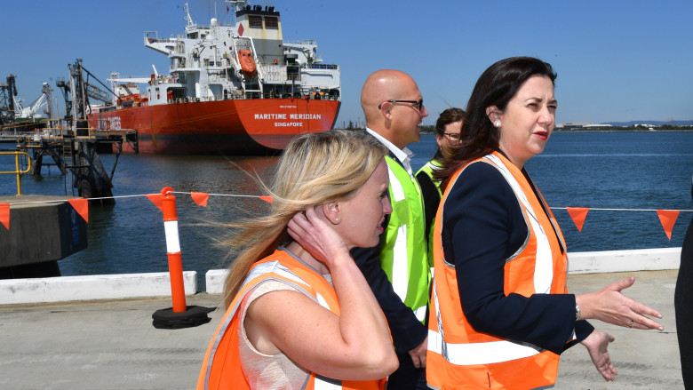 Queensland Premier Annastacia Pazlaszczuk, Treasurer Curtis Pitt and Tourism Minister Kate Jones announce Brisbane's new cruise ship terminal will go ahead.