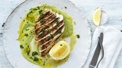 Neil Perry's barbecued chicken breast with asparagus