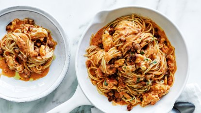 Neil Perry's lobster and pancetta spaghetti
