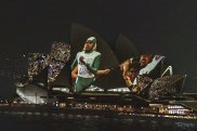 Cathy Freeman's Olympic gold winning 400m race from the 2000 Sydney Olympics is projected onto the Sydney Opera House.