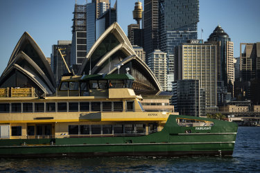 One of three new Emerald Class Ferries arrive in Sydney Harbour.