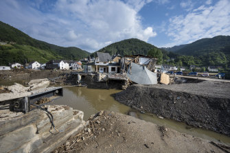 Destroyed houses, roads and a bridge at Rech in Germany's Ahr Valley.