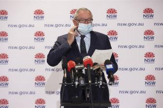 NSW Health Minister Brad Hazzard addresses the Saturday morning COVID-19 briefing.