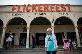 Flickerfest projectionist Alan Butterfield outside the Bondi Pavilion in Sydney.