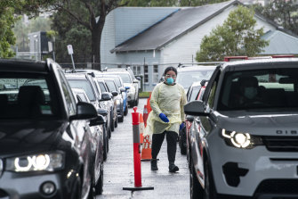 A COVID-19 drive through testing clinic in Rose Bay on Thursday was busy.