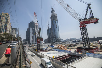 Crown's casino site overlooks Central Barangaroo, where construction is forging ahead on a new metro station.
