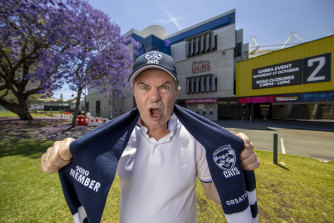 Gary Marchant, who has been to every grand final since 1960, has made it from Melbourne to the Gabba via quarantine in Darwin. He's a Melbourne supporter but is backing the Cats on behalf of his mum Joy, who is missing only her second grand final since 1945.