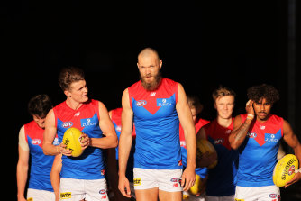 Max Gawn, centre, has helped create a new culture at Melbourne.