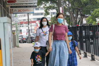 Some parents and students arrived at school in Sydney this week with masks.
