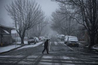 Braving the cold: snow falls in Blackheath.