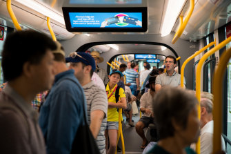 Cricket commuters ride the new Sydney CBD light rail in January.