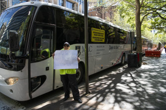Bus companies protest in Sydney on Wednesday.