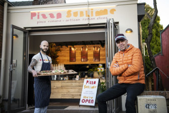 Pizza chef Marco Marano and Pizza Sublime owner James Howarth (right) at their store in Leura.